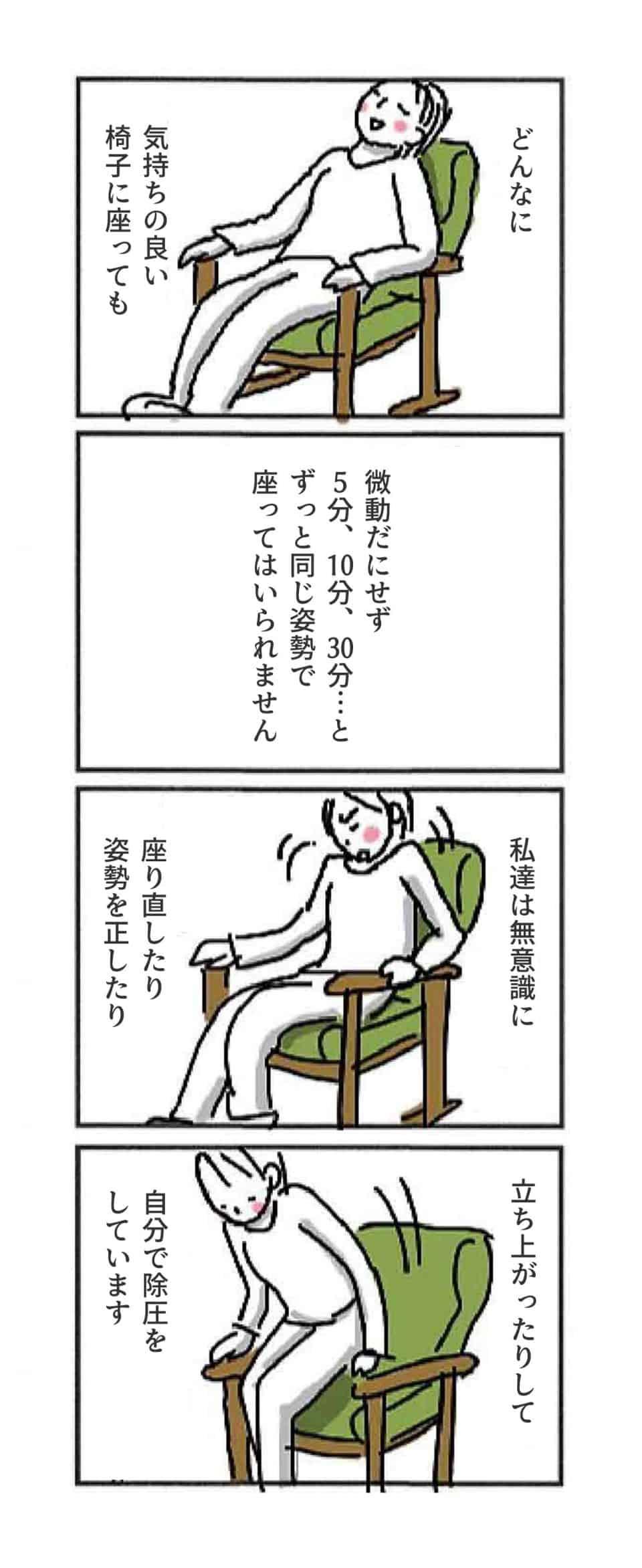 どんなに気持ちの良い椅子に座っても、微動だにせず5分、10分、30分…とずっと同じ姿勢で座って入られません。 私達は無意識に座り直したり、姿勢を正したり、立ち上がったり
