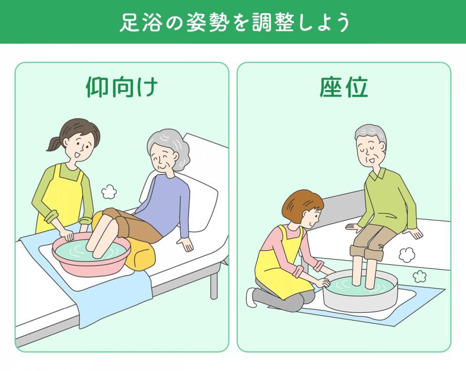 足浴の姿勢を調整しよう