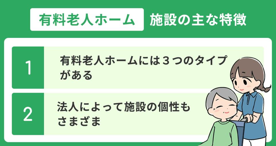 【有料老人ホームの特徴】1.有料老人ホームには3つのタイプがある 2.法人によって施設の個性もさまざま
