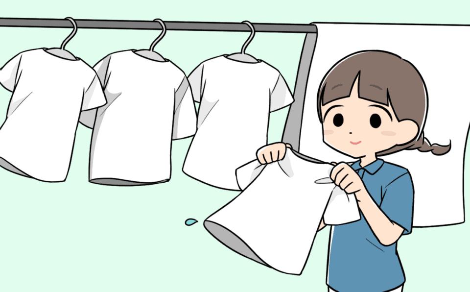 生活援助をしている介護士のイラスト。洗濯をしています。