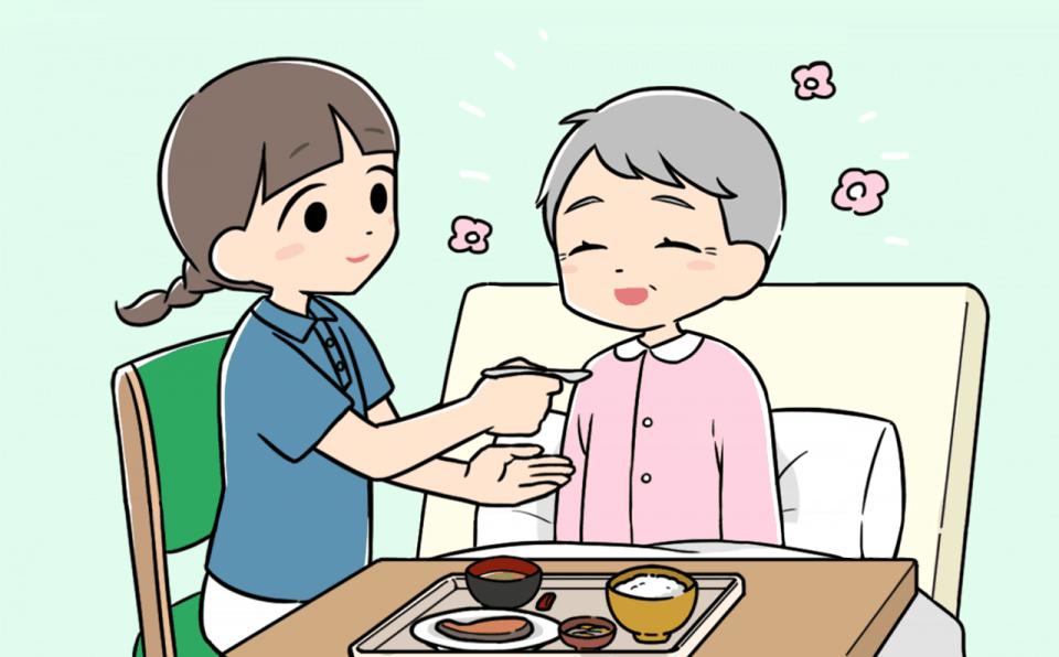 身体介護をおこなう介護士のイラスト。食事介助をしています。