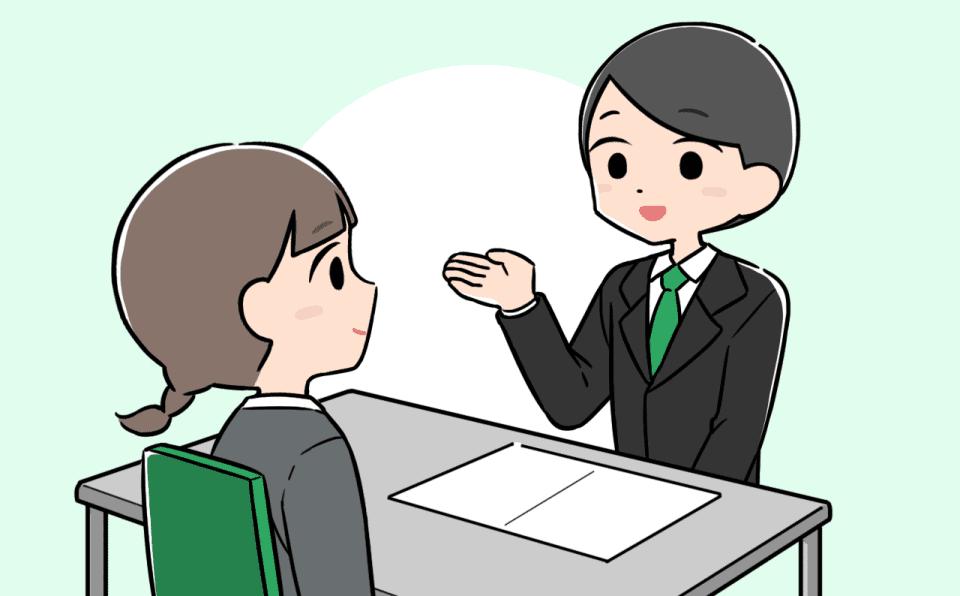 キャリアアドバイザーと面談する介護士のイラスト。