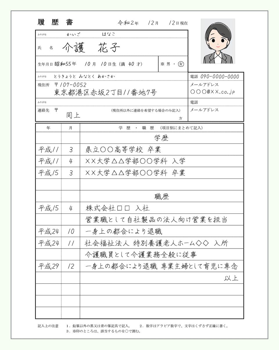 介護士の履歴書の記入例(左半分)
