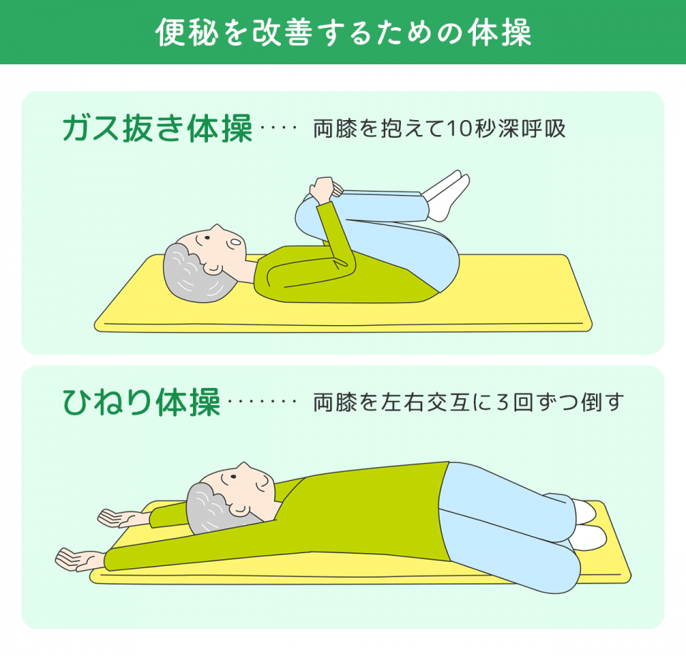 便秘を改善するための体操。ガス抜き体操…両膝を抱えて10秒深呼吸。ひねり体操…両膝を左右交互に3回ずつ倒す