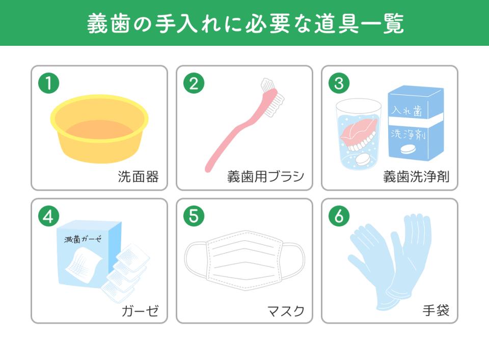 イラスト:義歯の手入れに必要な道具一覧 ①洗面器 ②義歯用ブラシ ③義歯洗浄剤 ④ガーゼ ⑤マスク ⑥手袋