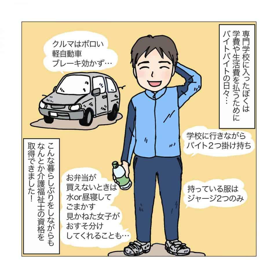 植賀寿夫さんが介護の勉強をするために専門学校に通っていたころの姿を説明するイラスト