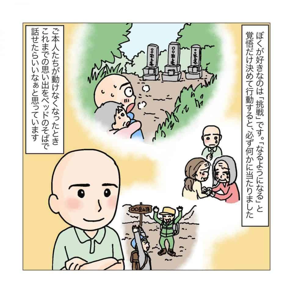 植賀寿夫さんが挑戦してきた介護を振り返るイラスト