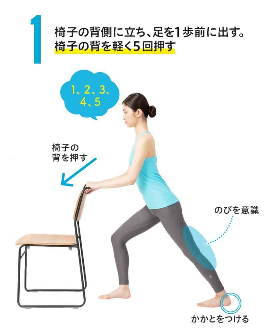 椅子ドンのポーズの手順1)椅子の背側に立ち、足を一歩前に出す。椅子の背を軽く5回押す。かかとは床につけ、ひざ裏の伸びを意識します。