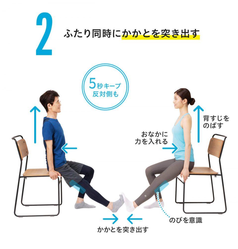 【椅子ひざ裏のばしの方法2】二人同時にかかとを突き出す。5秒間キープする。反対側も同様に行う。お腹に力を入れる・かかとを突き出す・背筋を伸ばす・ひざ裏が伸びていることを意識する。