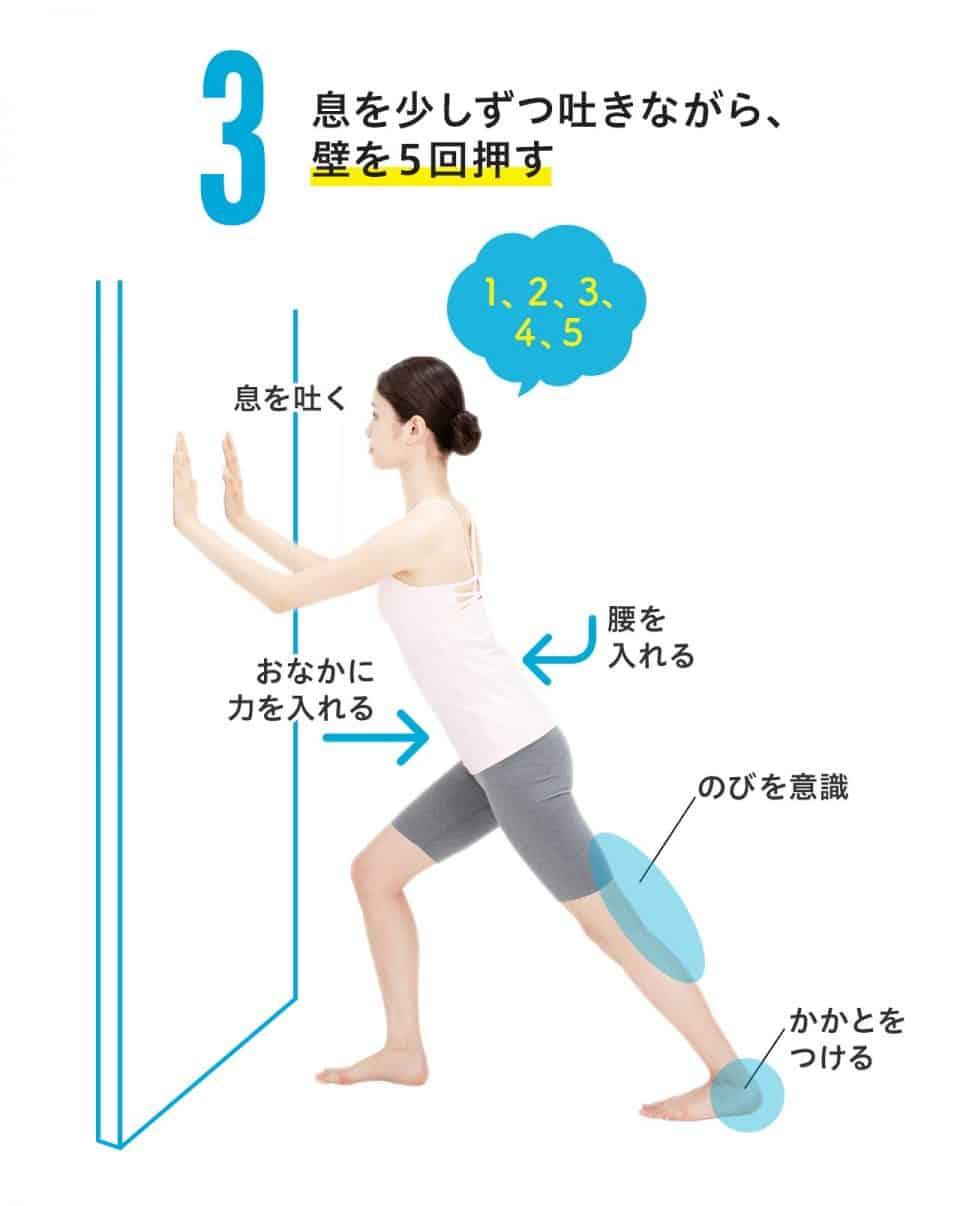 【ひざ裏のばし3】息を少しずつ吐きながら、壁を5回押す。息を吐くときはおなかに力を入れる、腰を入れる。後ろ足のひざ裏ののびを意識し、かかとは床につける。