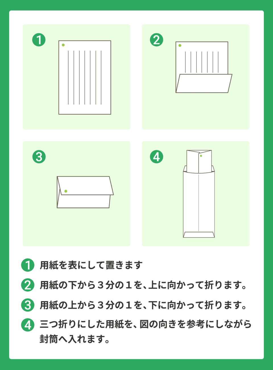 退職届のたたみ方 ①用紙を表にして置きます ②用紙の下から3分の1を、上に向かって折ります。 ③用紙の上から3分の1を、下に向かって折ります。 ④三つ折りにした用紙を、  図の向きを参考にしながら封筒へ入れます。