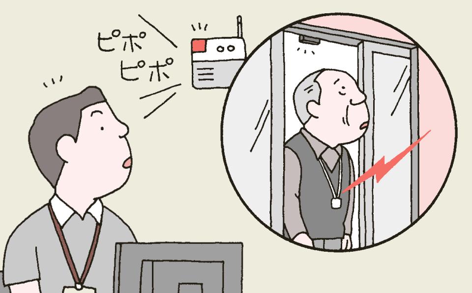 エントランスドアにセンサーを設置し、認知症の利用者が行方不明になるのを防止する