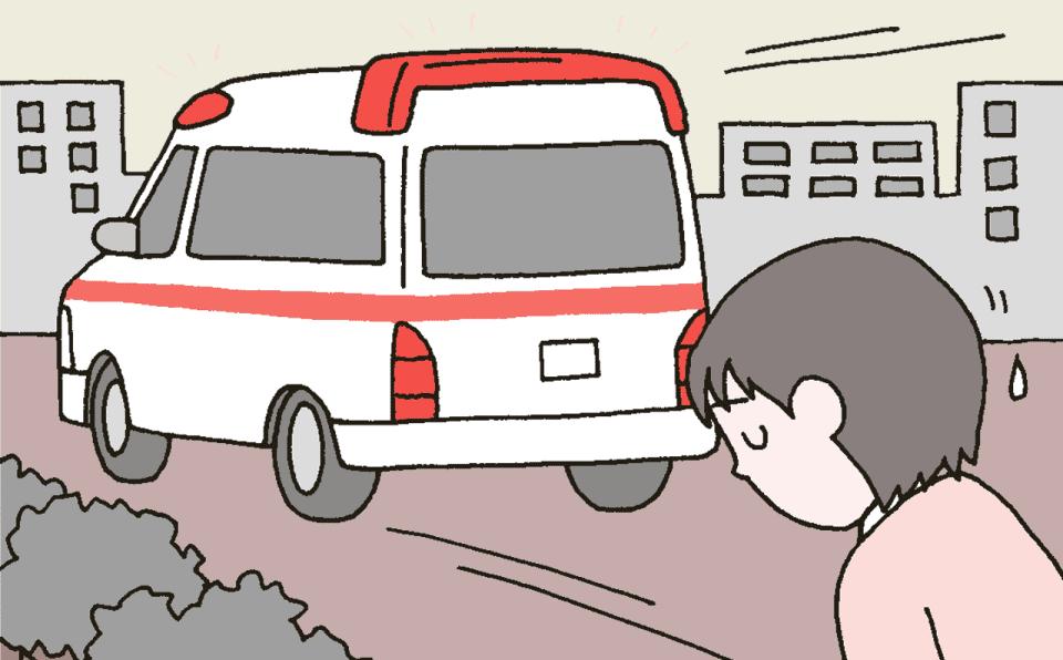 浴槽用洗剤を飲んでしまった利用者を救急車で緊急搬送しているイラスト