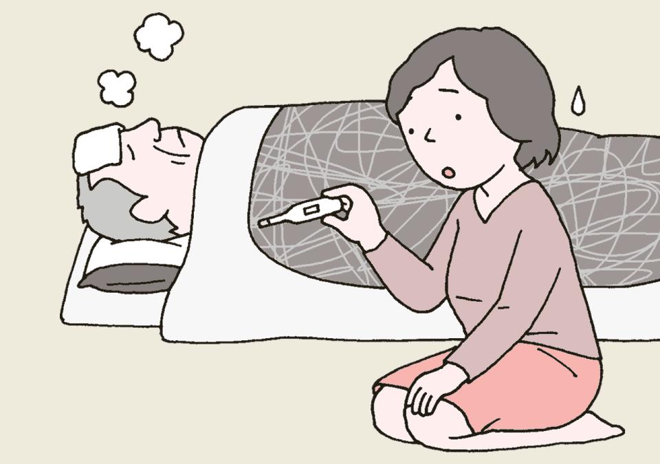 自宅で体調不良のため、布団に横になっている利用者のイラスト