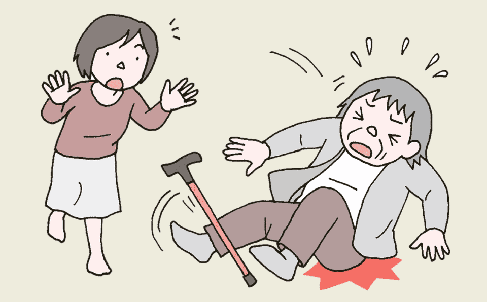 自宅で転倒する利用者と慌てる家族のイラスト