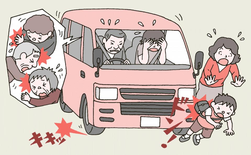 デイサービスの送迎車が子供と接触してしまうイラスト。乗っていた利用者も軽傷を負いました。