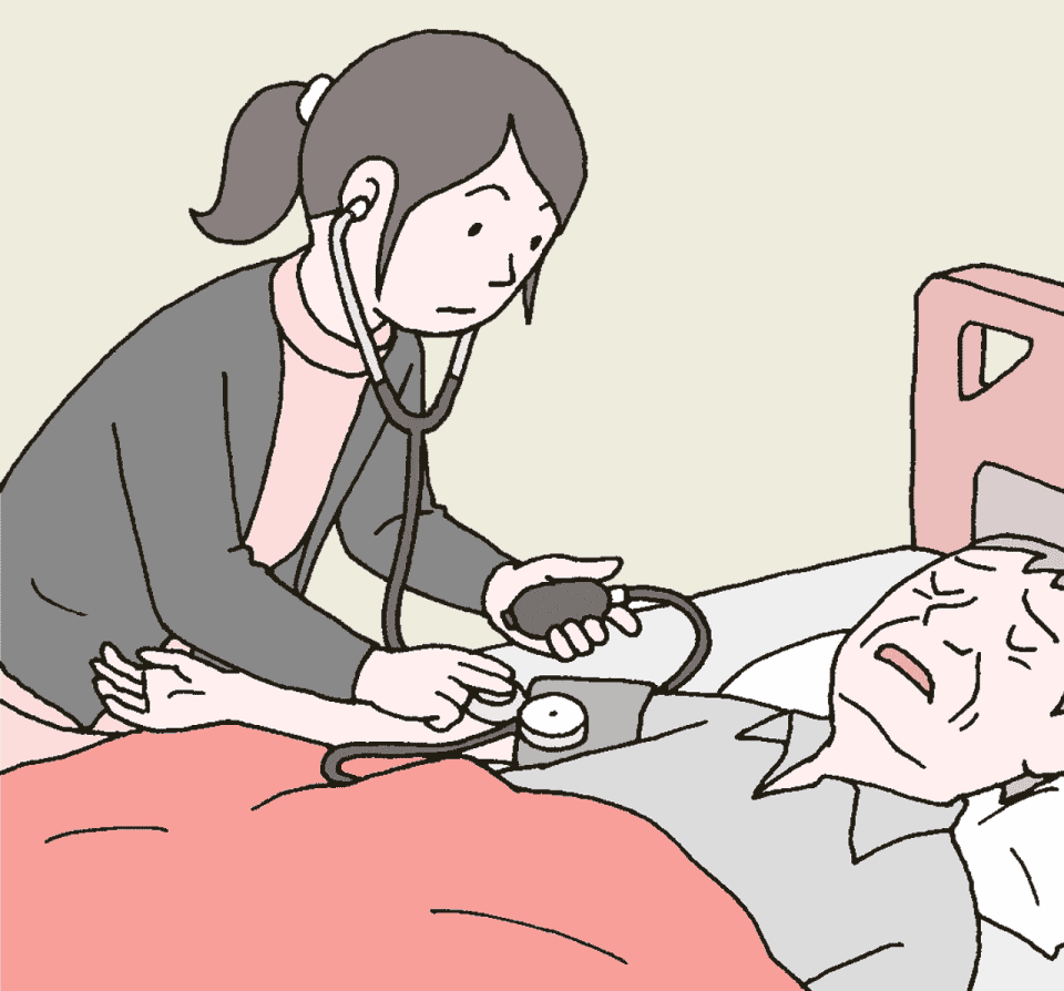 看護師がデイサービス利用中に体調不良になった利用者のバイタルチェックをしているイラスト。緊急受信の必要性の有無を判断します。