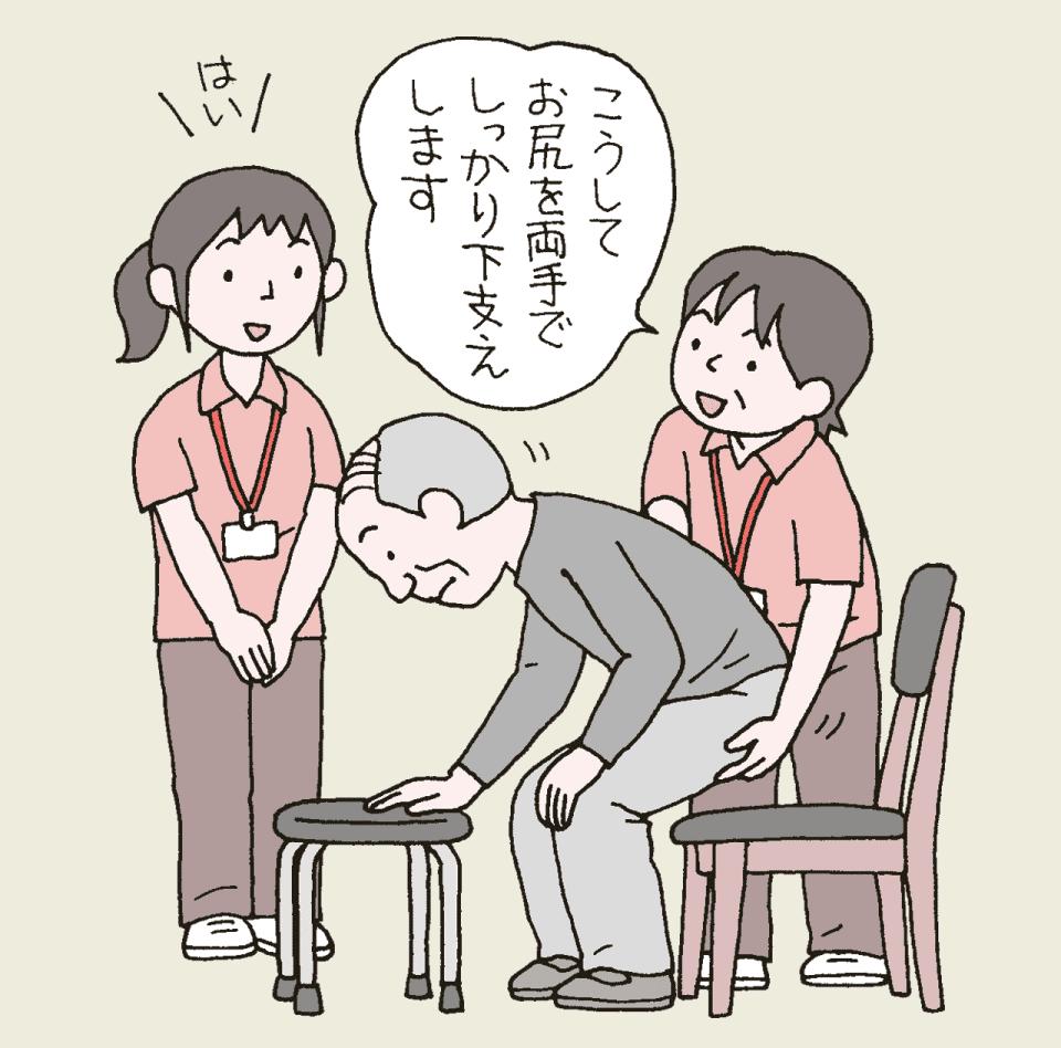 介護施設でのOJT(オン・ジャ・ジョブ・トレーニング)のイラスト。先輩が1人新人について、椅子への座り方をレクチャーしています。