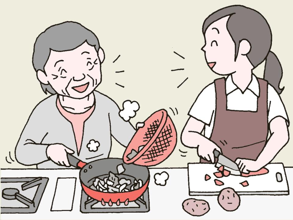 楽しくおしゃべりをしながら野菜を切るヘルパーと野菜を炒める利用者のイラスト