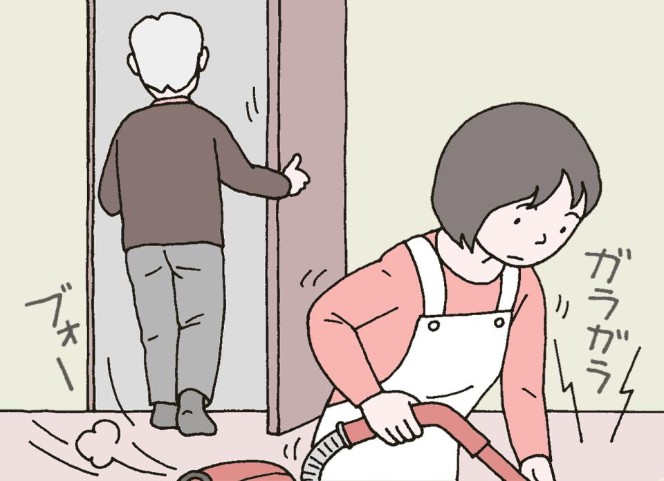 生活援助の訪問介護で利用者のお宅を訪問し、掃除機をかけているヘルパーのイラスト。利用者が玄関から出ていこうとしています。