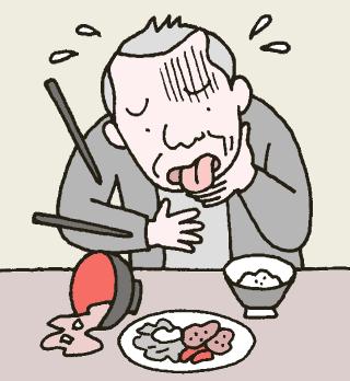 ショートステイの利用者が朝食後、薬を飲んだあと異変がおこっている様子