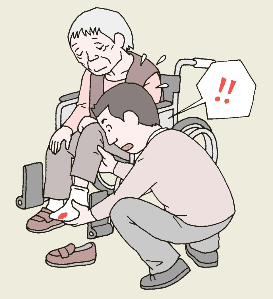 面会にきた利用者家族が利用者の足に怪我があることを発見したイラスト