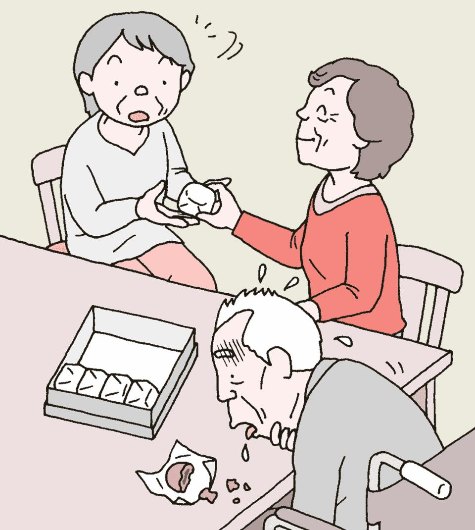 老人ホームにお菓子を持ち込んで規則違反をする利用者