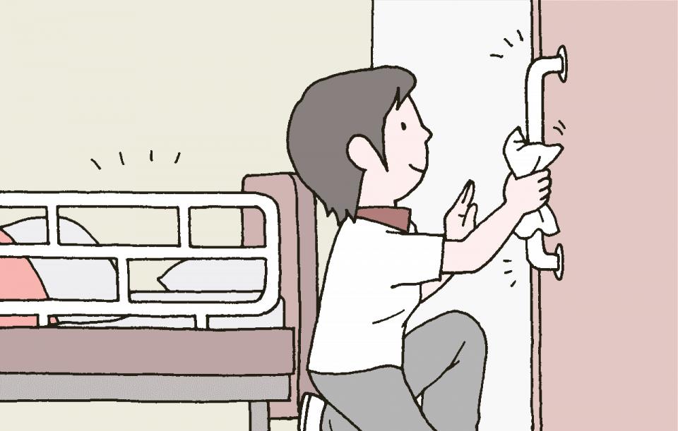 施設の総合衛生管理対策の基本:利用者がよく触る場所は職員が清掃を