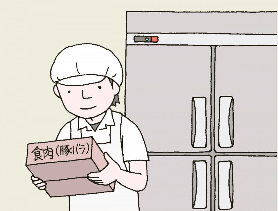 介護施設の食事の衛生管理のイラスト。食材や製品の温度管理について