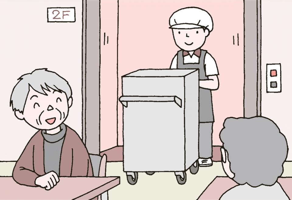 介護施設の食事の衛生管理のイラスト。食堂について