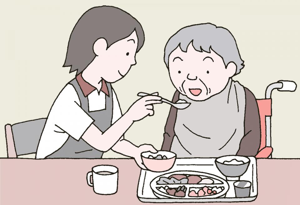 介護施設の食事の衛生管理のイラスト。食事介助をする職員について