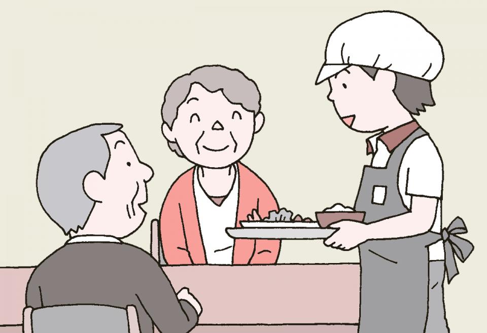 介護施設の食事の衛生管理のイラスト。配膳について