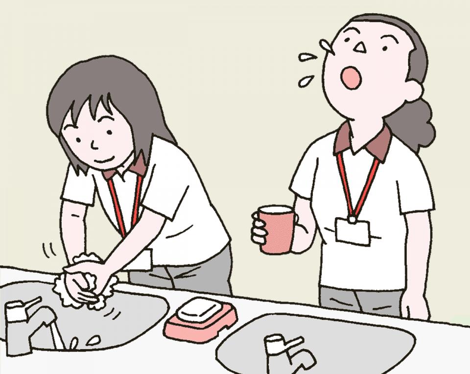 介護施設の職員の感染症予防のポイント:日常の衛生行動を徹底する。石鹸で丁寧に手を洗いましょう