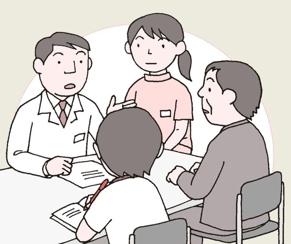 介護施設の感染症対策で、医師から説明を聞いている介護職員と利用者の家族のイラスト