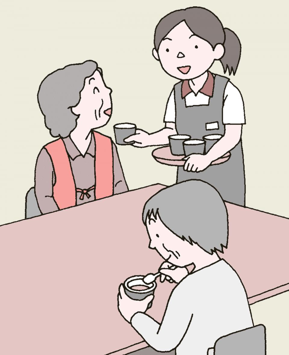 介護施設の利用者と職員のイラスト。おやつを食べています。