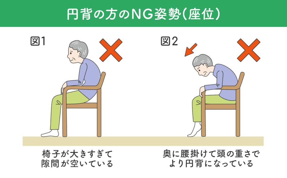 【円背の方のNG姿勢】椅子に掛けているとき。椅子が大きすぎて隙間が空いている。奥に腰掛けて頭の重さでより円背になっている。