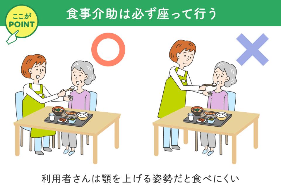 食事介助は必ず座って行いましょう。利用者さんは顎をあげる姿勢だと食べにくいです。