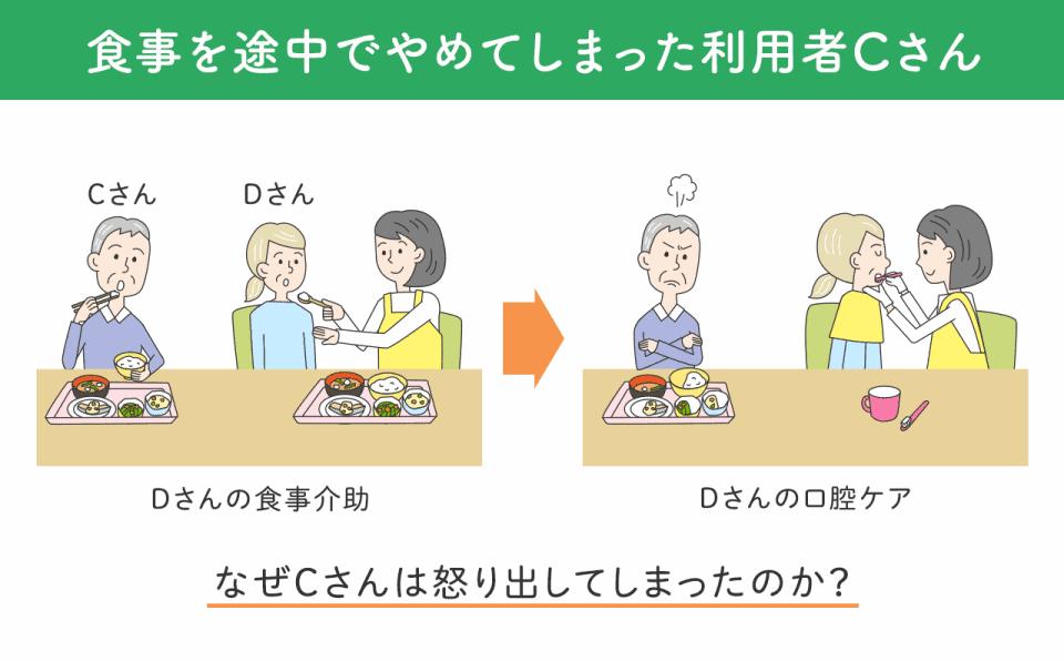 食事を途中でやめてしまった利用者Cさんのイラスト。食事をするCさんのとなりで、先に食事を終えたDさんの口腔ケアを介護職員がはじめてしまいました。
